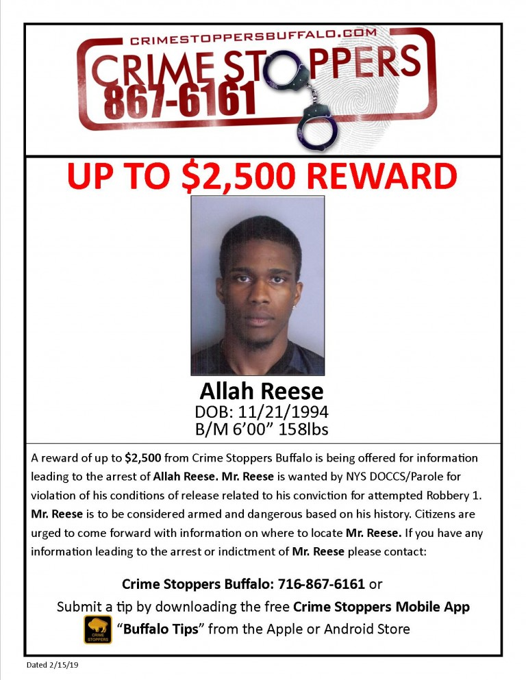 Wanted for violation of his conditions of release related to his conviction for attempted robbery. Mr. Reese is to be considered armed and dangerous based on his history.